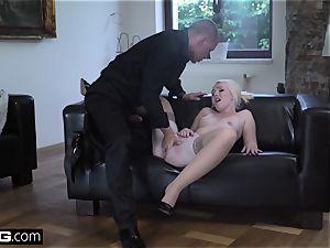light-haired Eurobabe degustating cum