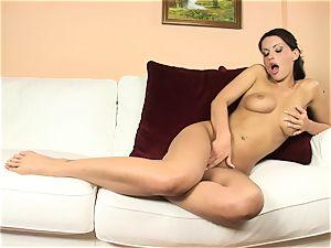 stunner Marketa Brymova have fun with herself in the living room