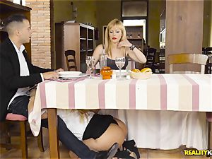 Waitress light-haired Fesser sneaky fuck-stick deep-throating under the table