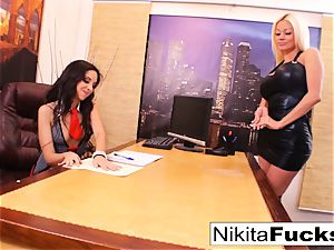 Nikita's girl/girl office penetrate