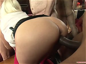 Michelle Thorne and young mega-bitch gang-bang nail with gang