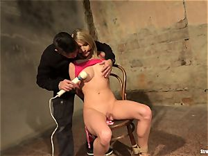 Angel Piaff strapped gagged unwrapped naked vibrated