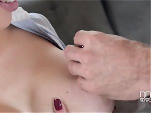 Drunken boy and his finest pal fuck his chesty muddy whore-wife Chessie Kay