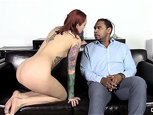 Steak and fellatio - insane Silvia Rubi slurping a massive penis