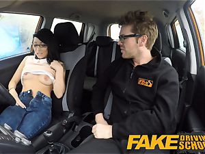 faux Driving school half japanese tiny student pummels