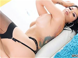 Romi Rain take a ample stiffy all the way down her hatch