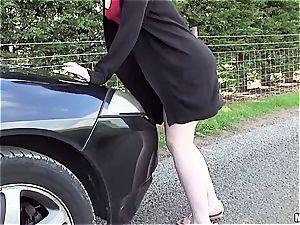 redhead superslut porks stud with car