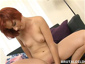redhead rotates inbetween gullet and cootchie with giant fuck stick