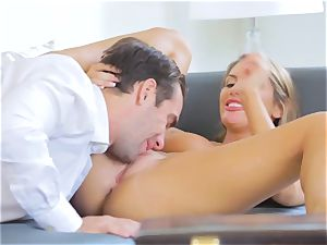 August Ames rides Logan Pierce on the bed