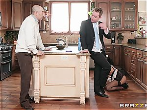 scorching black maid almost get caught