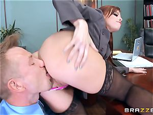 red-haired chief Britney Amber pokes a super-naughty employee