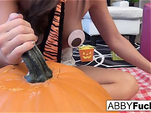 Abigail Mac carves a pumpkin then plays with herself