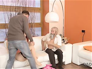 DADDY4K. boy and his aged dad crew up to punish sex-positive gf