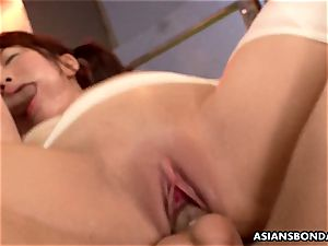chinese sandy-haired is bandaged and gangbanged