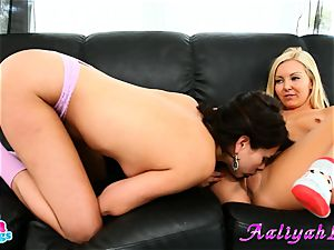Aaliyah love and Shyla Jennings finger-tickling on sofa