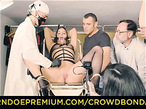 CROWD bondage enslaved Amirah Adara first-ever time bondage & discipline