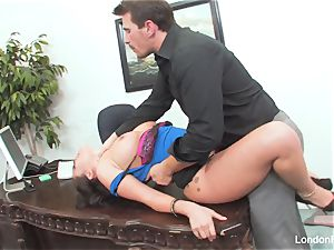 chinese ultra-cutie London Keyes gets an office plumb