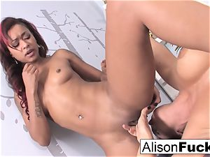 fantastic skin uses her thumbs and hatch to rubdown Alison