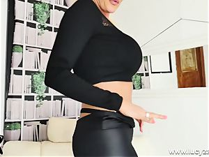 light-haired cougar Lucy Zara gets bare for JOI fuck stick plowing
