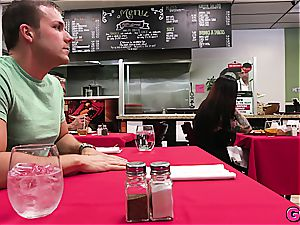 Melissa Moore gets a manhood kebab under the table at the local food joint