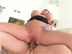 gigantic breasted Kerry Louise bounces her labia on a large spunk-pump