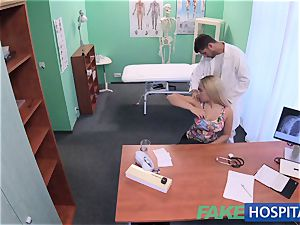 FakeHospital big-titted Russian stunner drinks cumload