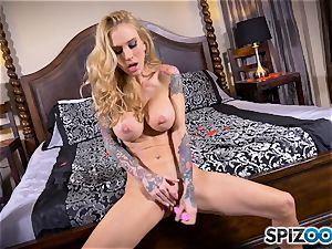 tatted thin light-haired Sarah Jessie messes with her puss
