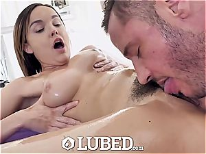 oiled rubdown table boink and facial with Dillion Harper