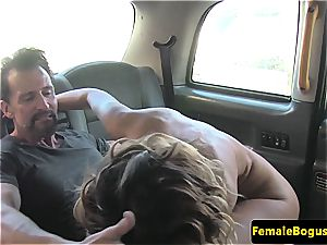 luxurious blondie nymph taxidriver gets her face coated