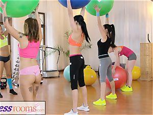 sport rooms Gym cougar and schoolgirls have wet three-way