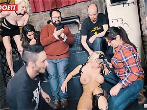 huge-boobed ash-blonde gets gonzo banging in restrain bondage party