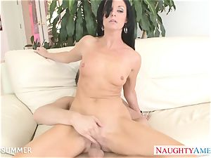 black-haired India Summer gets pussy plumbed
