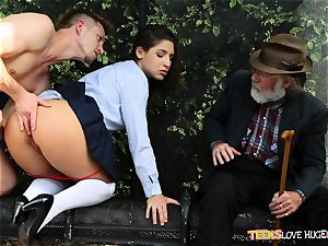 jokey situation of honeypot rammed daughter-in-law and her granddad watches at bus stop - Abella Danger and Bill Bailey