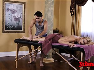 chesty milf Alexis Fawx luvs a wood riding massage