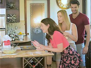 Upside down gash fuckin' Natasha adorable and Joseline Kelly in the kitchen