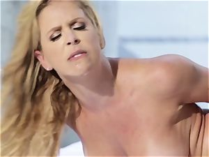 Mature huge-titted babe Cherie DeVille loves her dark-hued fitness coach and his giant man-meat