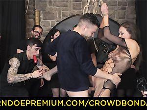 CROWD restrain bondage - extraordinary bondage & discipline fuck wheel with Tina Kay