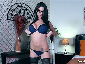 Dava teases you then thumbs her jaw-dropping snatch