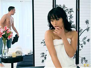 mischievous japanese honey Ayumu Kasi slips naughty strung up cock in her minge