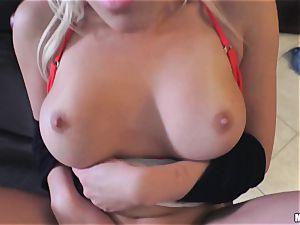 mischievous Cristi Ann drilled deep in her puss and her parent is sleeping beside her
