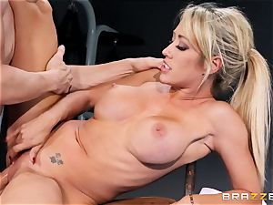 Capri Cavanni ends her exercise with some fat prick