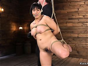 lush huge-boobed asian snatch toyed in hog-tie