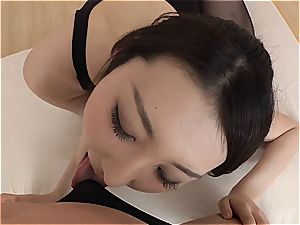 petite japanese bombshell gets her minge ravaged thru her pantyhose