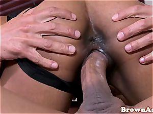 dark-hued in underwear welcomes his weenie in her gash