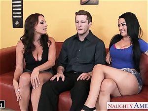 wondrous Katrina Jade and Kayla West sharing a penis