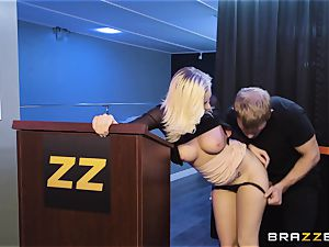 Bailey Brooke gets frisky with the draped bouncer