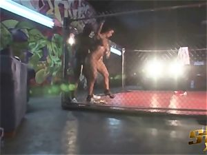 Latina sweetheart Angelina Castro drills black MMA Fighter