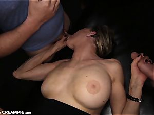 Gilf Diana takes 7 explosions in this warm group sex