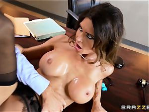 Jessica Jaymes drools over a lawyers enormous fuckpole