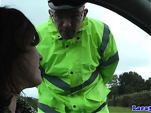 Caught tugging mature penetrates patrol cop